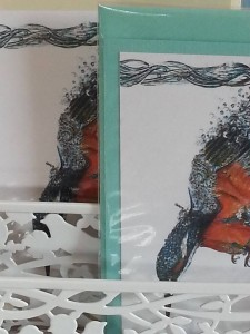 Kingfisher diving bubbles cards